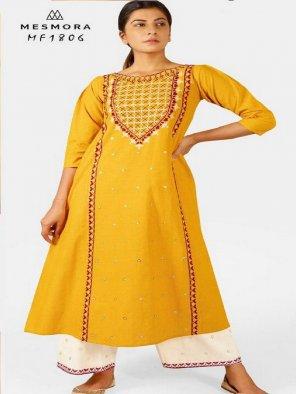 yellow khadi cotton fabric embroidery work festival