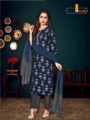 blue muslin silk fabric printed work casual