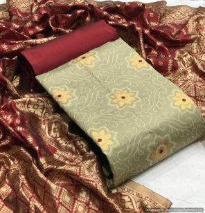 gold banarasi fabric jequard work casual