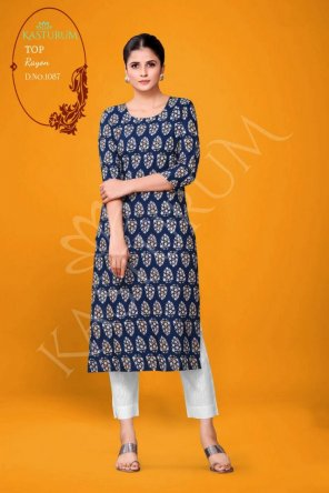 blue rayon fabric printed work casual
