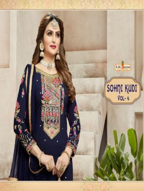 royal blue georgette fabric embroidery work ethnic