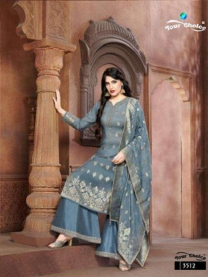 grey pure modal silk fabric weaving with embroidery touch up work festival