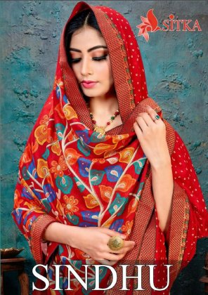 red vichtra silk fabric printed work ethnic