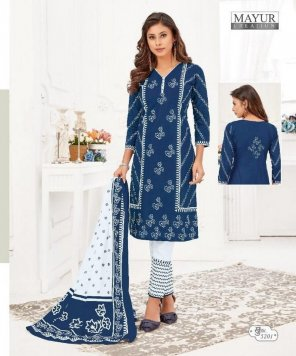 blue pure cotton fabric printed work casual
