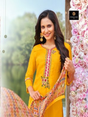 yellow cotton fabric printed work party