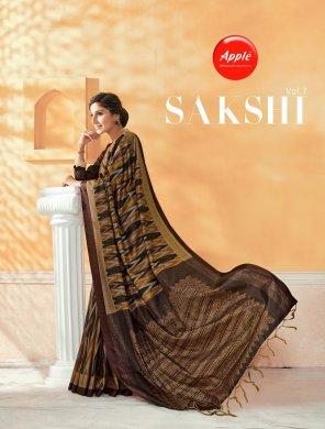 dark brown dola silk fabric printed work occasionaly