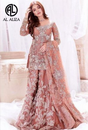 rose brown georgette fabric embroidery work party