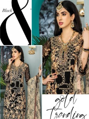 black fox georgette fabric printed work occasionaly festival