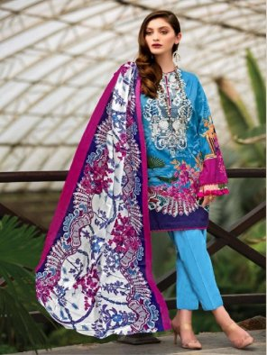 sky blue pure lawn fabric printed work party