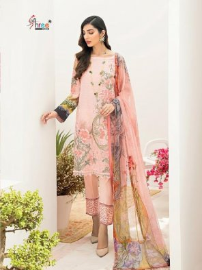 peach pure lawn cotton fabric printed work party