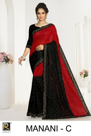 red braso fabric printed work ethnic
