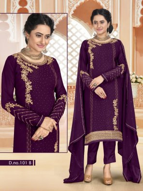 violet georgette fabric embroidery work party