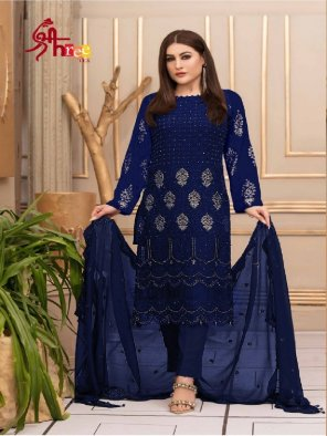 navy blue georgette fabric embroidery work occasionaly