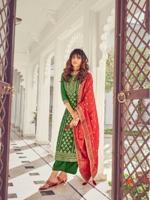 dark green silk fabric embroidery work occasionaly