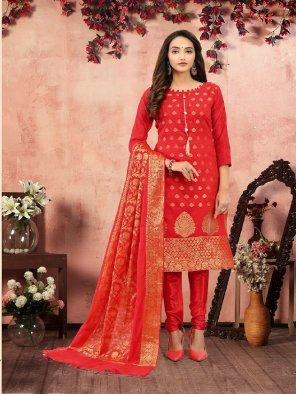 red banarasi silk  fabric jaquard print work occasionaly
