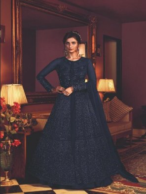 royal blue net fabric embroidery work occasionaly
