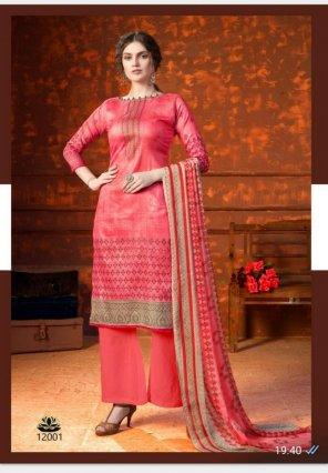 baby pink jam cotton fabric printed work ethnic