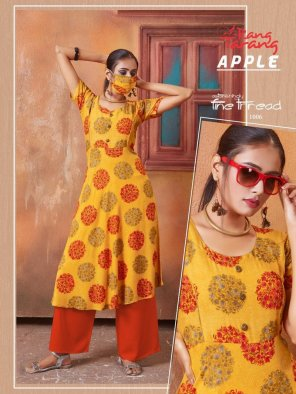 mustard rayon fabric printed work casual