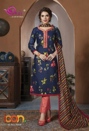 navy blue cotton  fabric printed work festival