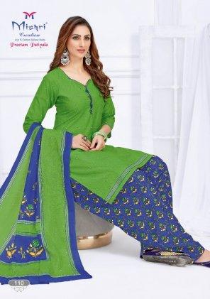perrot green cotton fabric printed work running