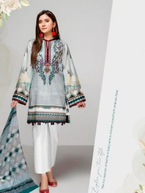 grey lawn cotton fabric printed work ethnic