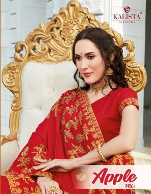 red vichtra silk fabric embroidery work ethnic