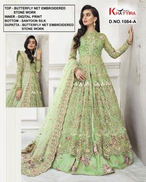 pista green butterflu net fabric embroidery work wedding