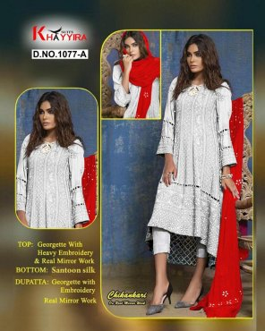 white georgette fabric embroidery work ethnc