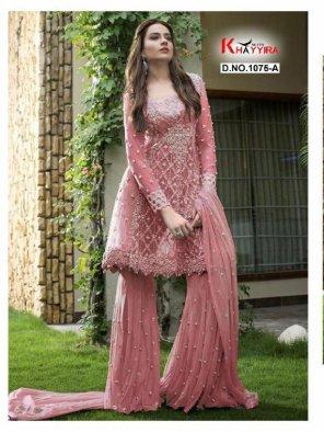 baby pink havy net fabric embroidery work wedding