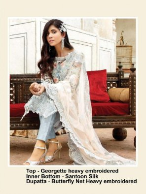 grey georgette fabric embroidery work party