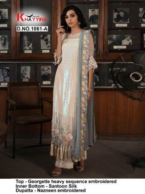 white georgette fabric sequance work festival