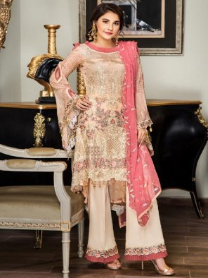 off white georgette fabric embroidery work party