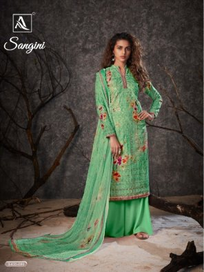 pista green fancy cotton fabric printed work festive