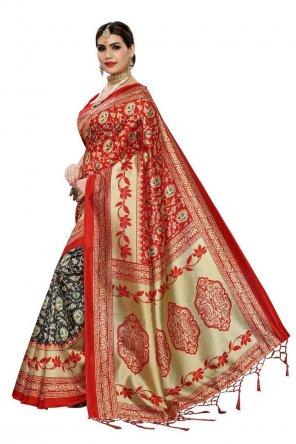 red art silk fabric jaquard print work wedding