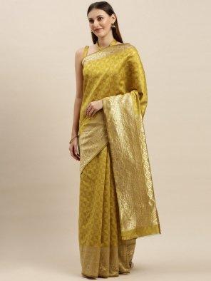 methi yellow silk fabric weaving work festival