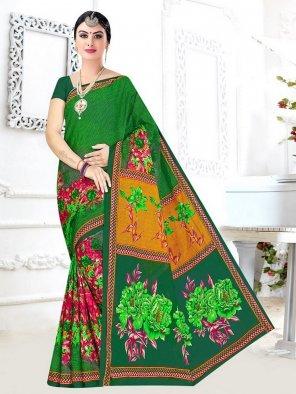 orange linen cotton fabric printed work ethnic