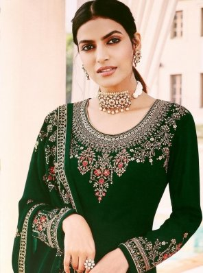 dark green faux georgette fabric embroidery work embroidery salwar suit