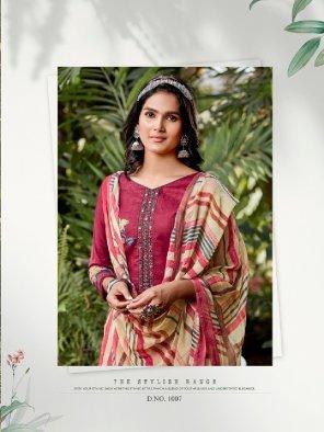 maroon pure cambric fabric printed work wedding