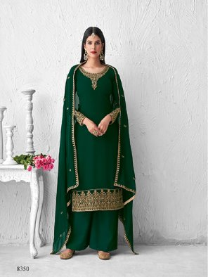 dark green georgette fabric embroidery work wedding