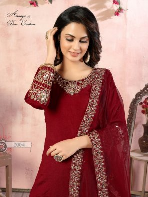 red art silk fabric embroidery work ethnic