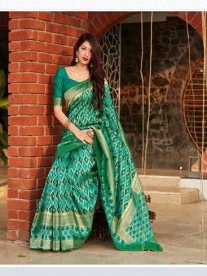 rama green banarasi silk fabric printed work party