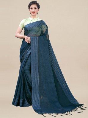 navy blue fancy net fabric printed work festival