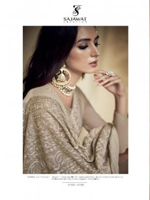light brown faux georgette fabric embroidery work wedding