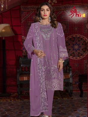violet georgette fabric embroidery work festival