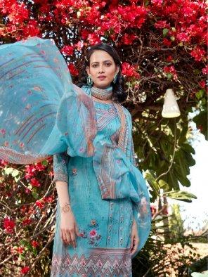 sky blue jam cotton fabric printed work wedding