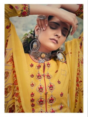 yellow pure cotton fabric printed work casual