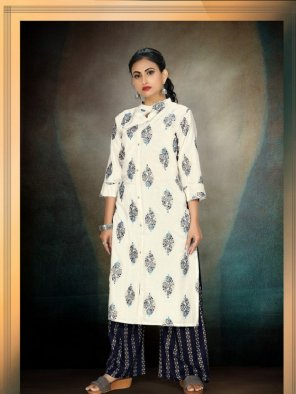white rayon fabric printed work casual