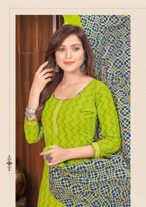 perrot green pure cotton fabric printed work ethnic
