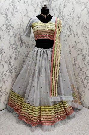 grey net fabric embroidery work wedding