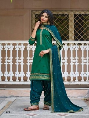rama green jam silk fabric embroidery work wedding
